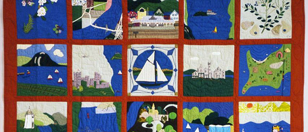 quilt with hudson river imagery