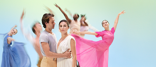 ballet dancers on a blue background in bright colors