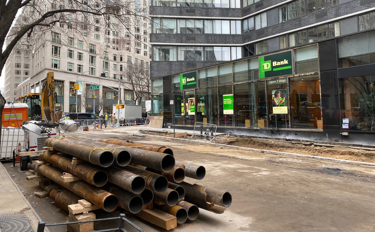 pipes wait to be installed at 62nd Street near the south side at TD Bank