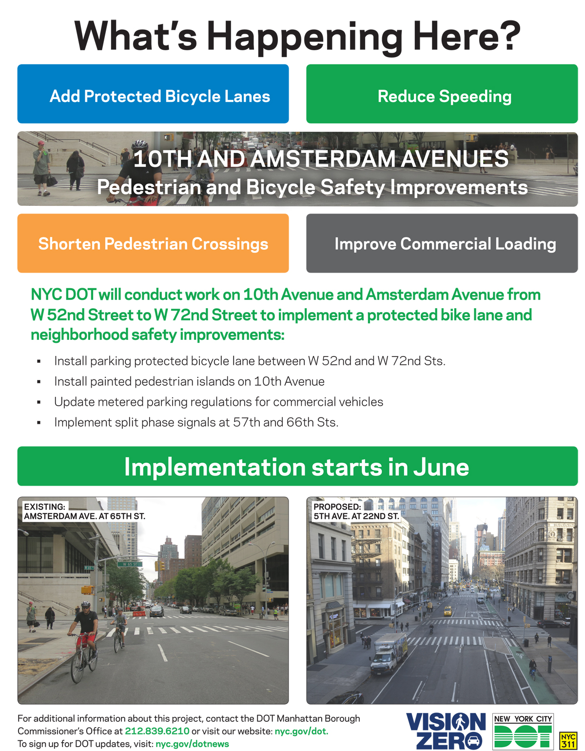 a flyer detailing DOT construction work on 10th Ave and Amsterdam Ave
