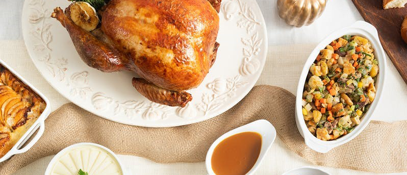 turkey_ stuffing_ and gravy spread on a table from Epicerie Boulud