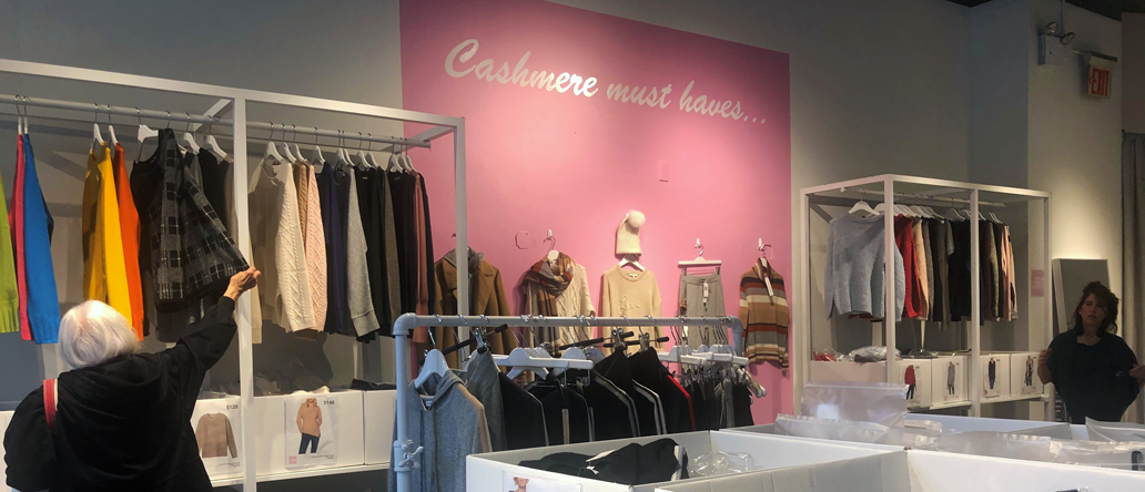 inside of the cashmere store at 1980 broadway