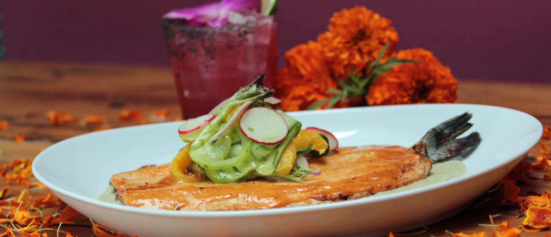 a photo of the menu_s trout dish for Day of the Dead at Rosa Mexicano