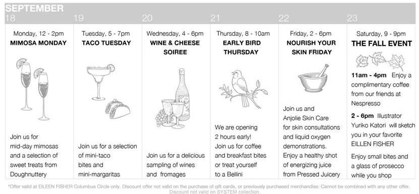 Eileen Fisher's Fall Event Week Countdown Calendar