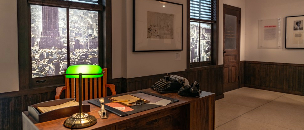 A replica of Hal Prince_s desk at the Library for the Performing Arts Exhibit