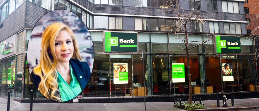a headshot of Johanna Kyrk TD Bank Store Manager is superimposed over an outside shot of the TD Bank at 62nd St on Broadway