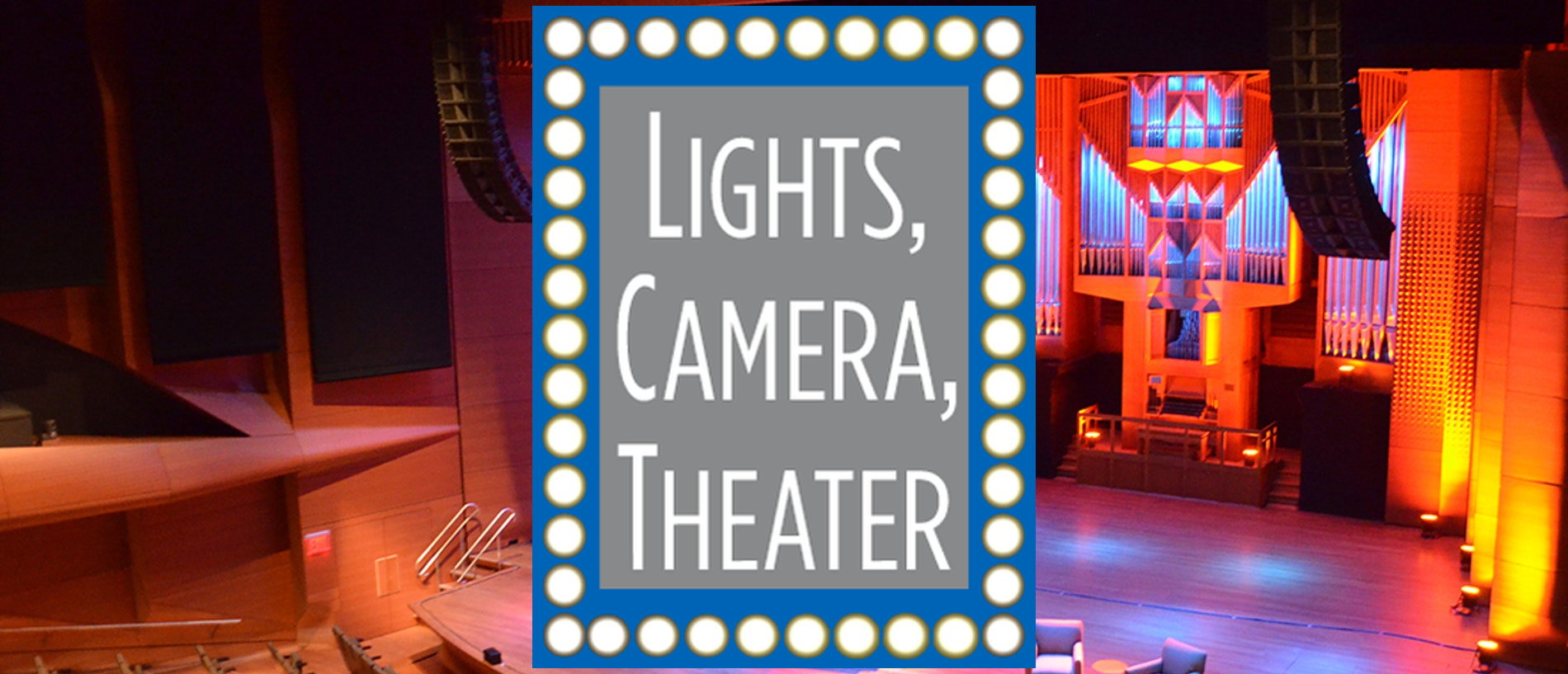 lights camera theater logo over the Vivian Beaumont stage at LCT