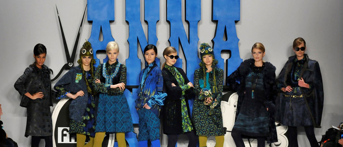 models pose in designer Anna Sui_s fall collection