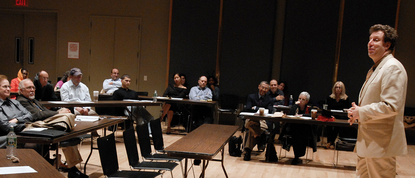 an instructor addresses a class of older adults at Jazz at Lincoln Center