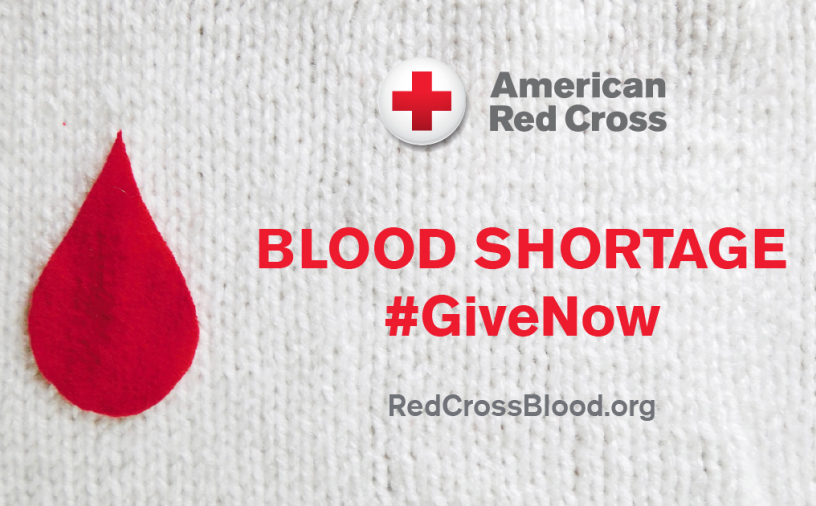 American Red Cross Blood Shortage call to action image