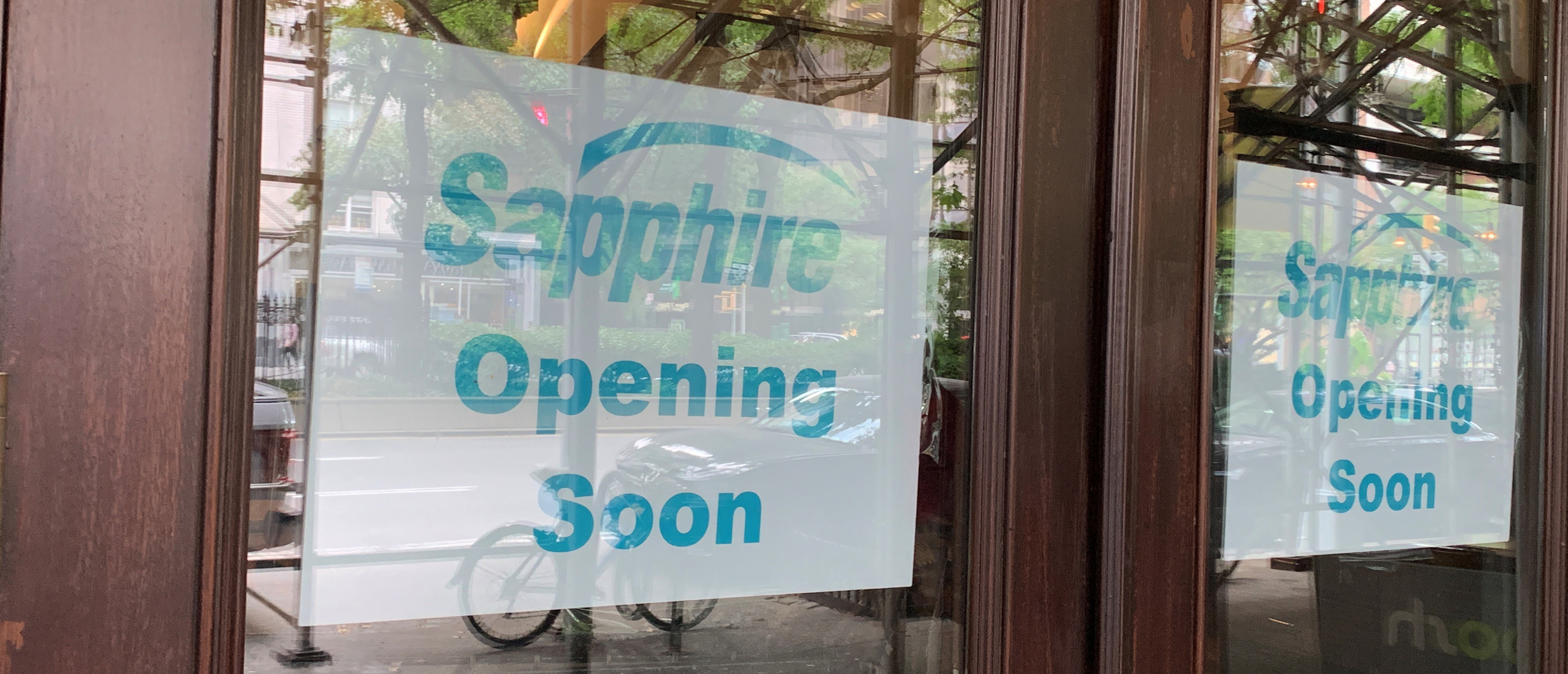 coming soon signs for Sapphire Indian Cuisine