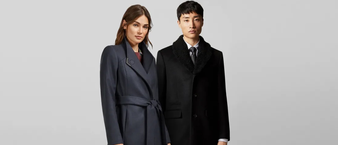 two models in Ted Baker winter peacoats