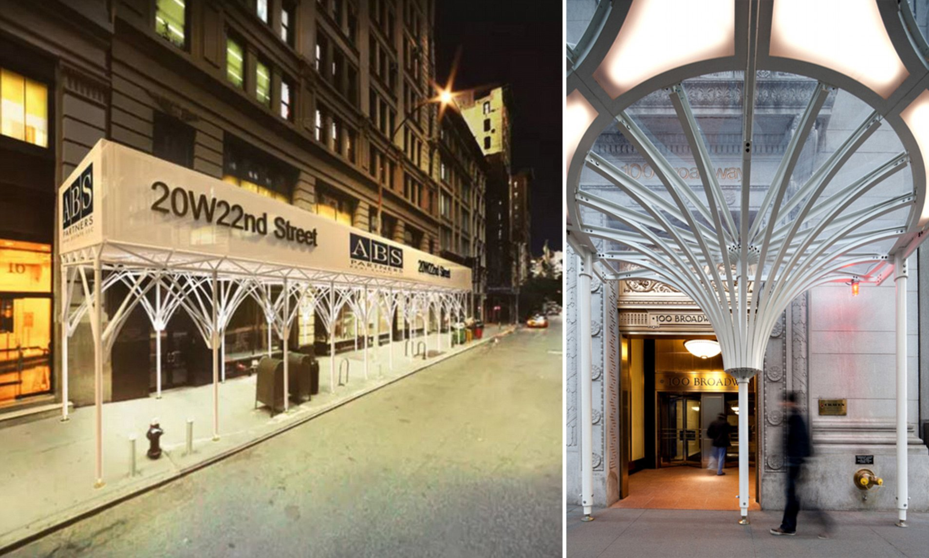 renderings of fancy white scaffolding on a sidewalk