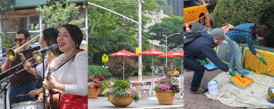 a collage of photos of BID activities including a band at the lunchtime concerts, tables/chairs/planters in Dante Park, and painting for the Barrier Beautification project