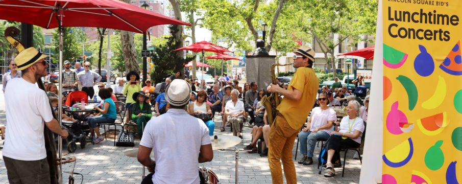 A band plays in Richard Tucker Park during the summer concert series