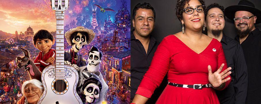 Coco movie poster and a photo of the band La Santa Cecelia