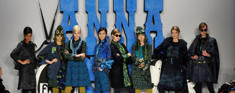 models pose in designer Anna Sui's fall collection