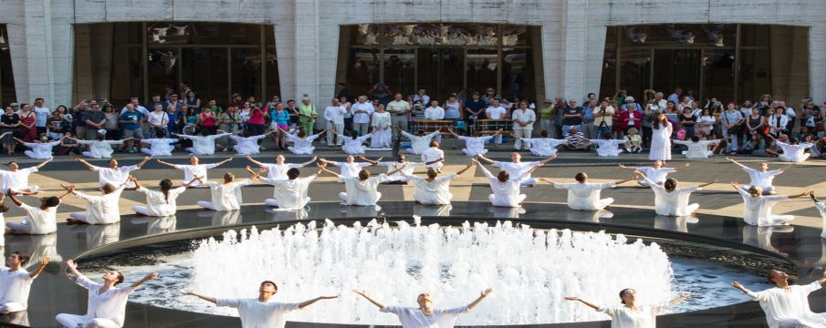 Buglisi Dance Theatre encircling the fountain on the Josie Robertson Plaza
