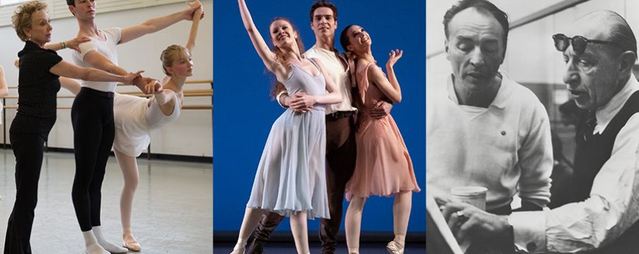 collage of students practicing and performing ballet