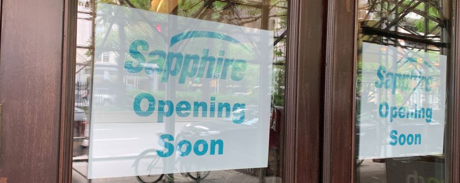 Opening Soon sign at 2014 Broadway  for Sapphire Indian Cuisine