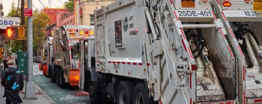 garbage truck on the streets of nyc