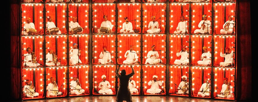 a scene from The Manganiyar Seduction performance of Indian Muslim dance