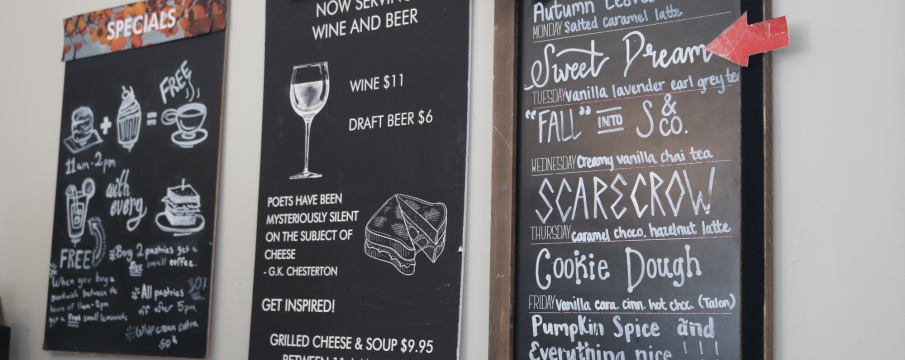 chalkboard signs of Shakespeare and Cos Cafe menus for fall