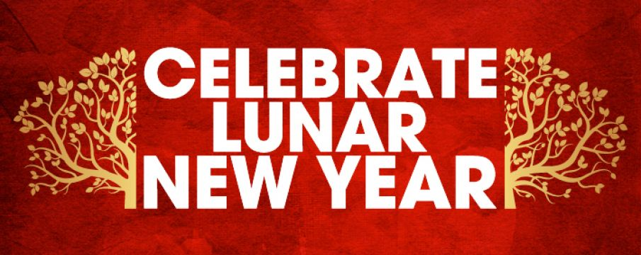 text _celebrate lunar new year_ over a red background with gold tree branch details along the side of the text