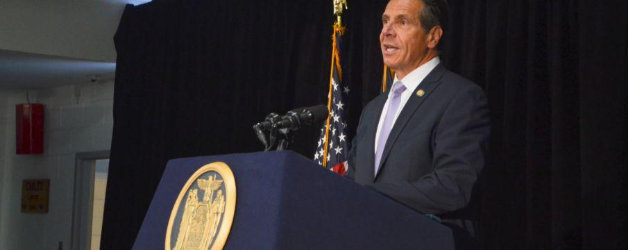 Governor Cuomo at podium for press conference