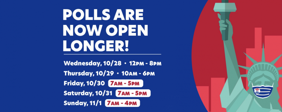graphic that states early voting hours are Friday: 7:00am – 5:00pm Saturday: 7:00am – 5:00pm  Sunday: 7:00am – 4:00pm