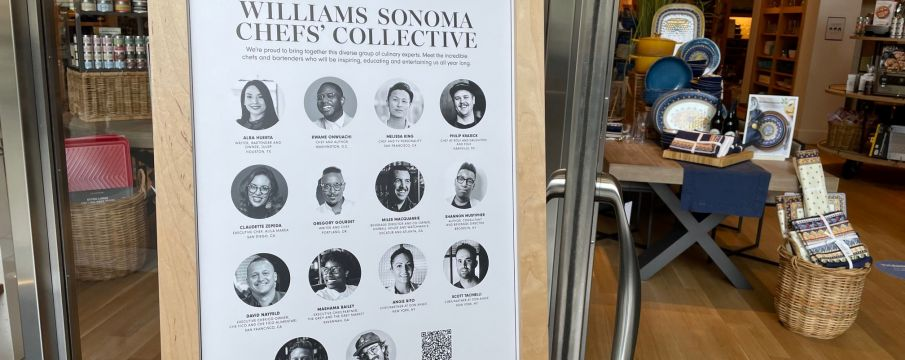 sign advertising williams sonoma chefs' collective outside of the 10 columvus circle store