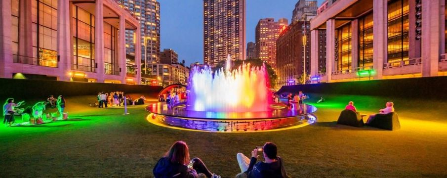 Lincoln Center's fountain lit up in rainbow lights for Pride Month