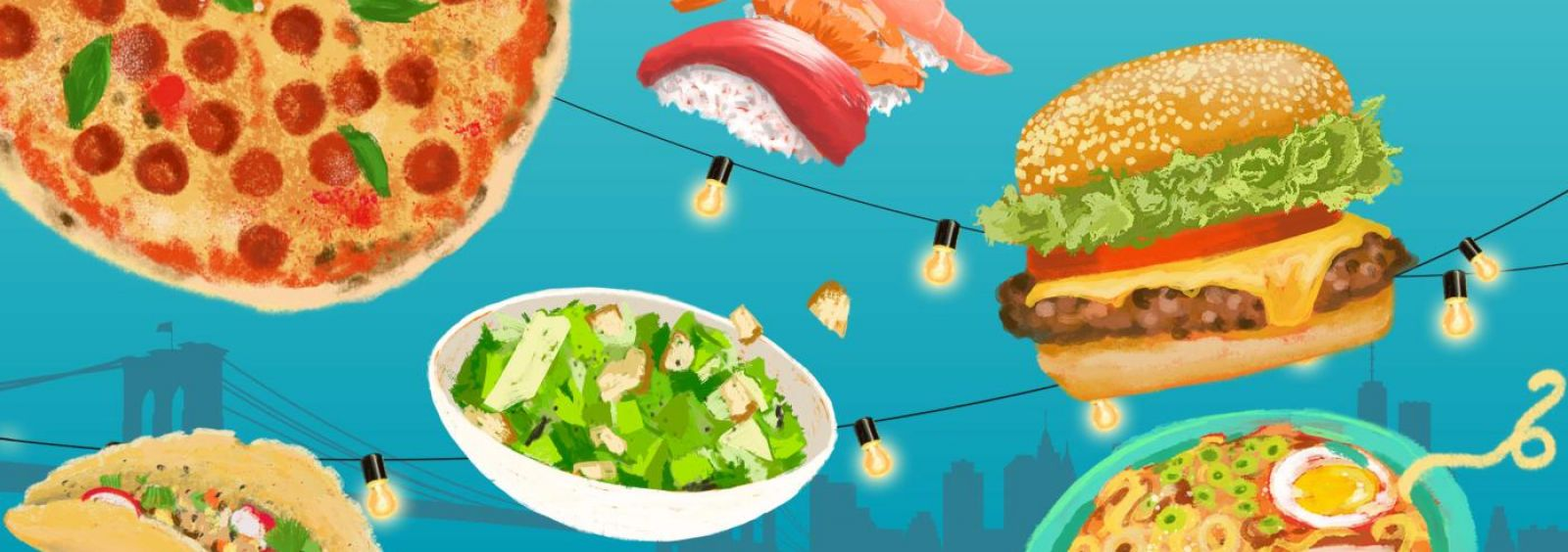 graphic of different food over nyc skyline
