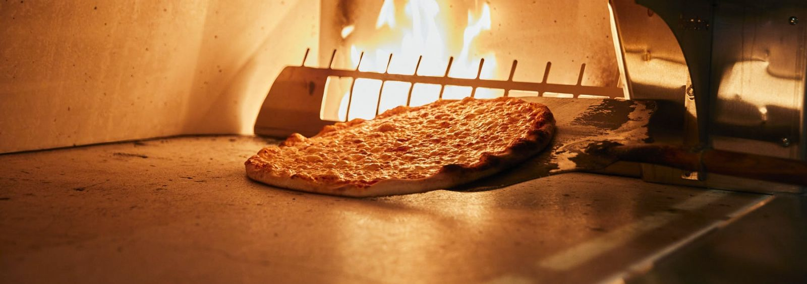 pizza in a pizza oven